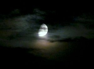 Moon through clouds, near my north London home