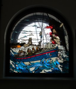 Stained glass window in Cromer Lifeboat Museum...