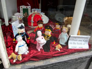Kate had given birth to George on the afternoon of my arrival in Norwich, and the event was celebrated in the window of the Save The Children charity shop in Magdalen Street...