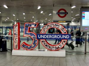 Celebrating 150 years of the London Underground, at King's Cross and St. Pancras Tube station...