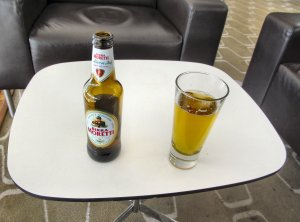 In the Members' Bar of the RFH, there was no no Curious Brew, so I settled for Birra Moretti instead