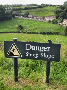 Danger Steep Slope, at Richmond Castle...