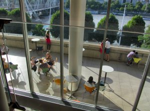 View over the RFH Terrace, from the Members' Bar, to the River Thames and Hungerford Bridge beyond...