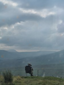 An artist on the road from Muker to Hawes...