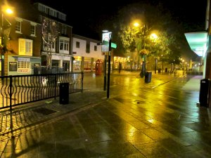 On my way back to Fareham railway station after the gig, a rainy West Street...