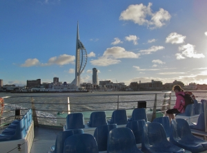 Heading for Gosport, with the Spinnaker Tower in Portsmouth on the horizon...