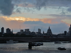A London City skyline from Hungerford Bridge...