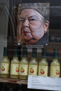 Ena Sharples, in the window of Wild and Coffee Company, New Oxford Street
