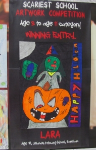Happy Halloween, schoolchildren's display in Fareham Shopping Centre...