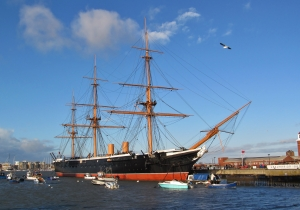 HMS Warrior, The Hard, Portsmouth, around 8 o'clock this morning..