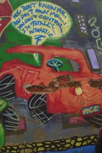 Graffiti on the wall in Lodge Lane Car Park, London N12