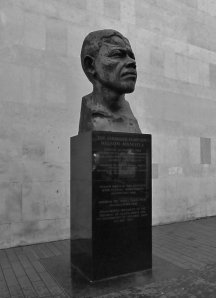 Nelson Mandela statue, outside the Royal Festival Hall, on London's South Bank...