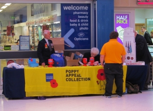 Poppy Appeal Stall, outside Boots, in Fareham Shopping Centre...