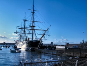 HMS Warrior, the world's first ironclad warship, 1860, at Portsmouth Hard