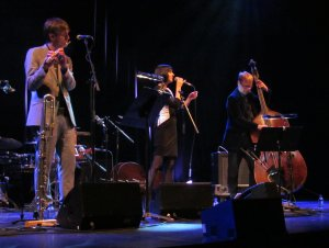 Georgia Mancio Trio, with Gareth Lockrane on flute, and Geoff Gascoyne on bass
