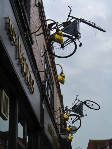 Above 'The Vaults' pub, on the north side of Albert Road