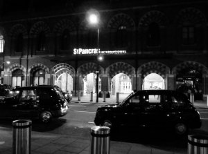 Black cabs, outside St Pancras International...