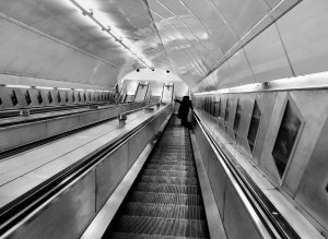 Travelling down the escalator to the Northen Line platform at Waterloo Tube station...