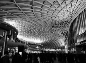 The wonderful interior of King's Cross station, rendered in mono...
