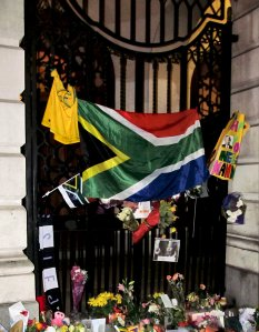 Outside South Africa House this evening...