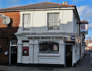 The Red, White and Blue pub, on the western side of Fawcett Road