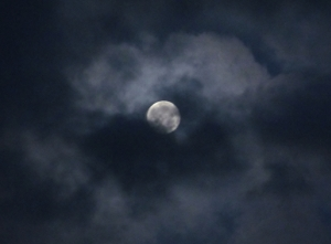 Moon and clouds above Goldsmith Avenue, Fratton, around 7.20 this morning