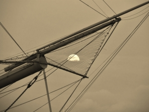 Moon in rigging of HMS Warrior, Portsmouth Hard, this morning...