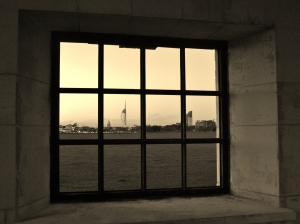 Memorial window, looking towards Portsmouth Harbour